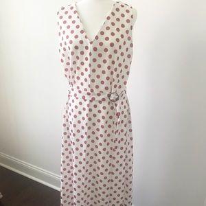 Zara white and red dot midi dress size xL
